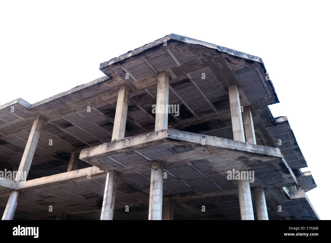 Unfinished incomplete concrete building in Spain - Stock Image
