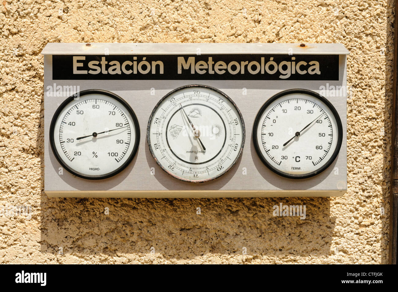 Spanish weather station 'Estación meterológica' - Stock Image
