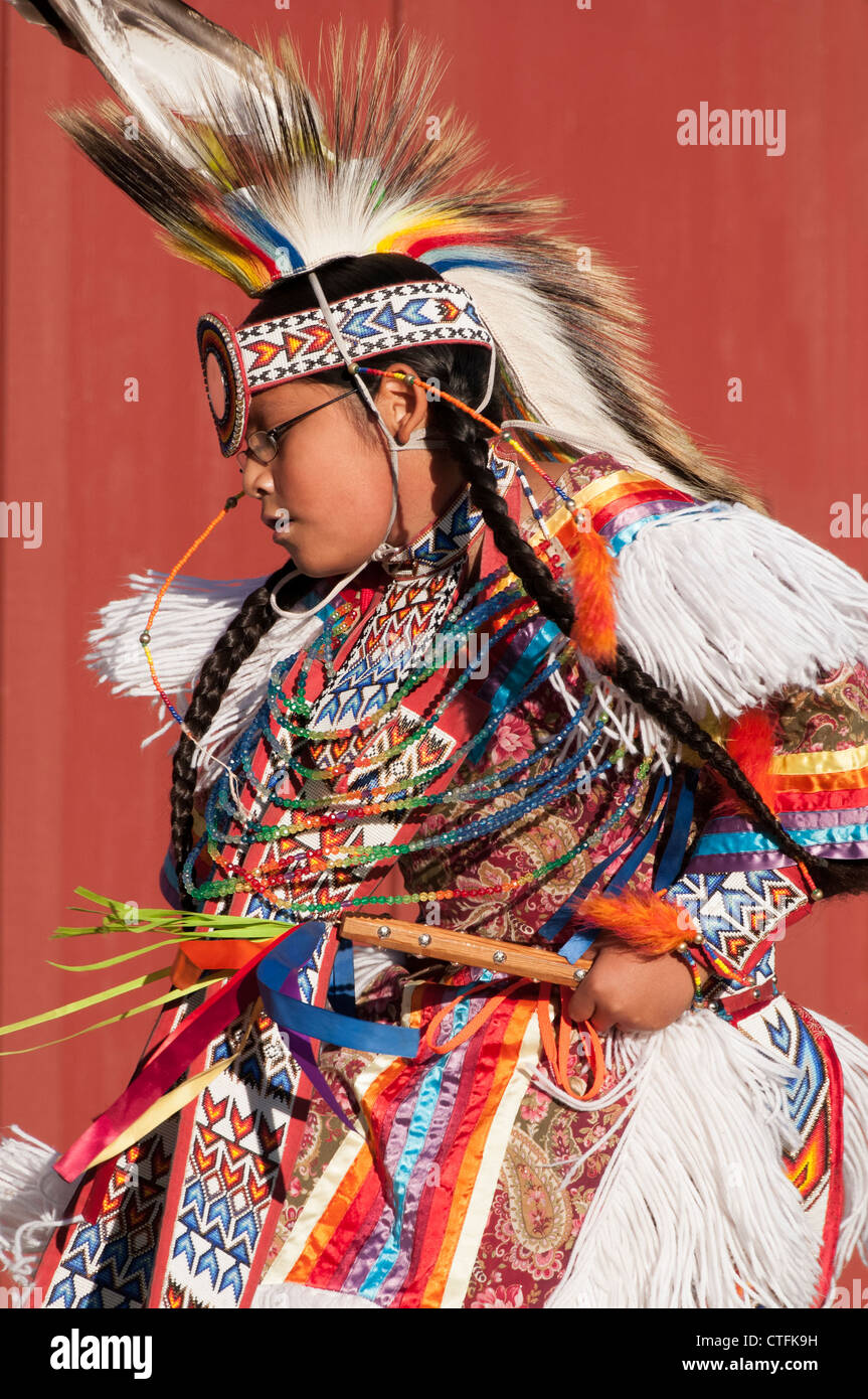 Young Piaute dancers, Frontier Homestead State Park, Cedar City, Utah. - Stock Image