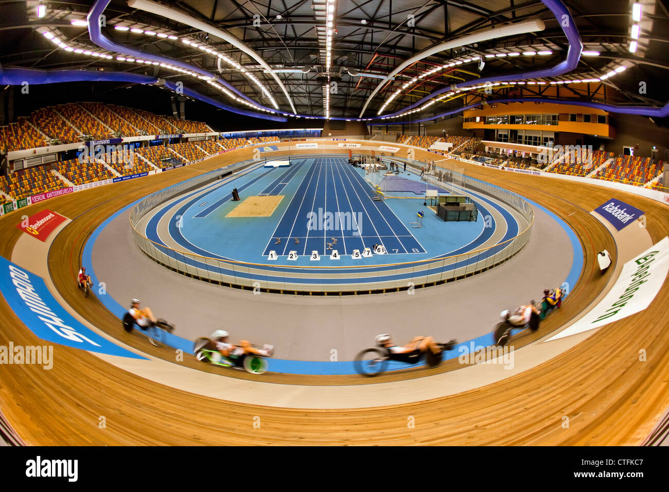 The Netherlands, Apeldoorn, Cycle stadium called Omnisport. Recumbent bicycles. - Stock Image