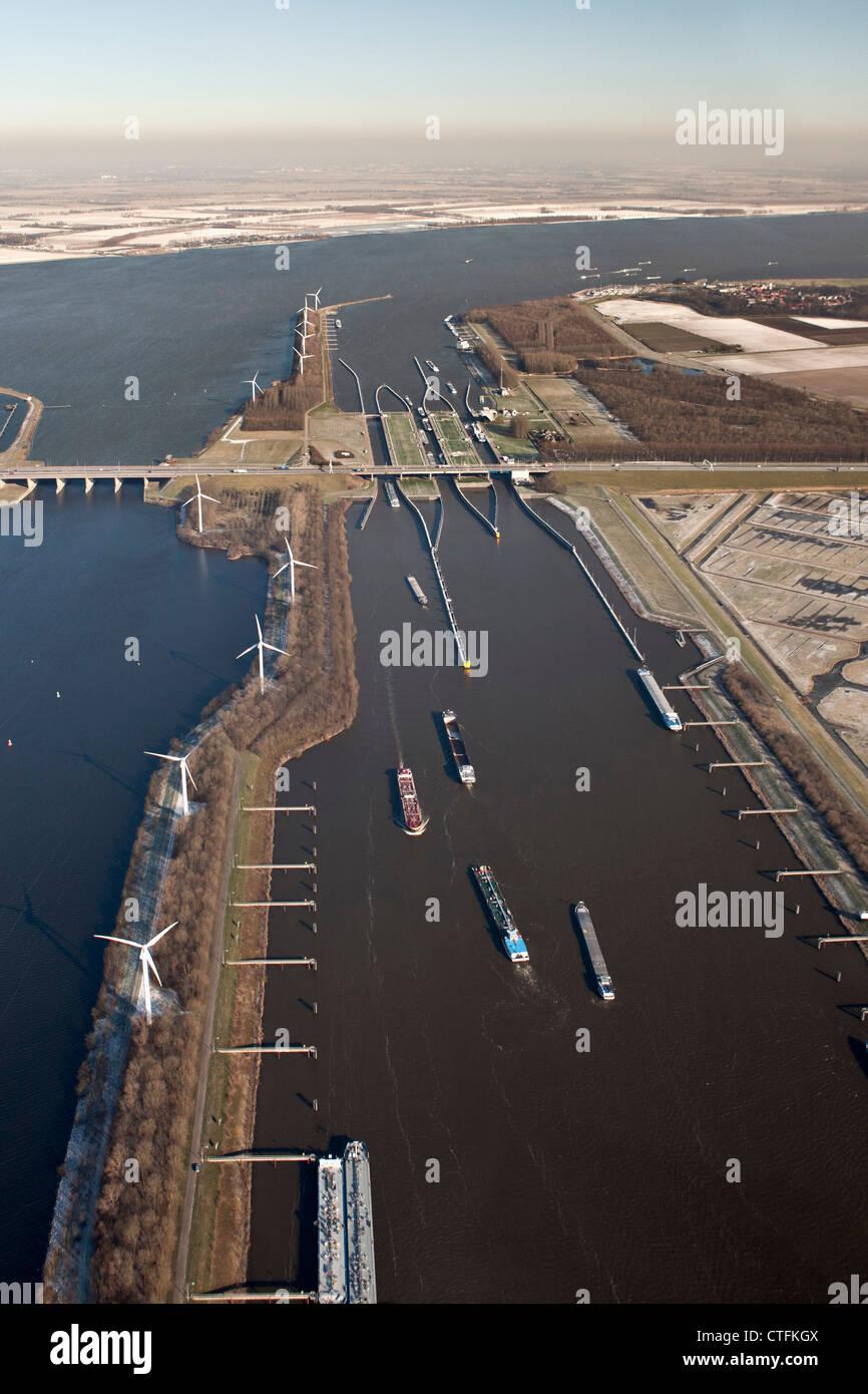 The Netherlands, Willemstad, Volkeraksluizen, Locks of Volkerak. Part of Delta Works. Aerial, winter, frost. - Stock Image