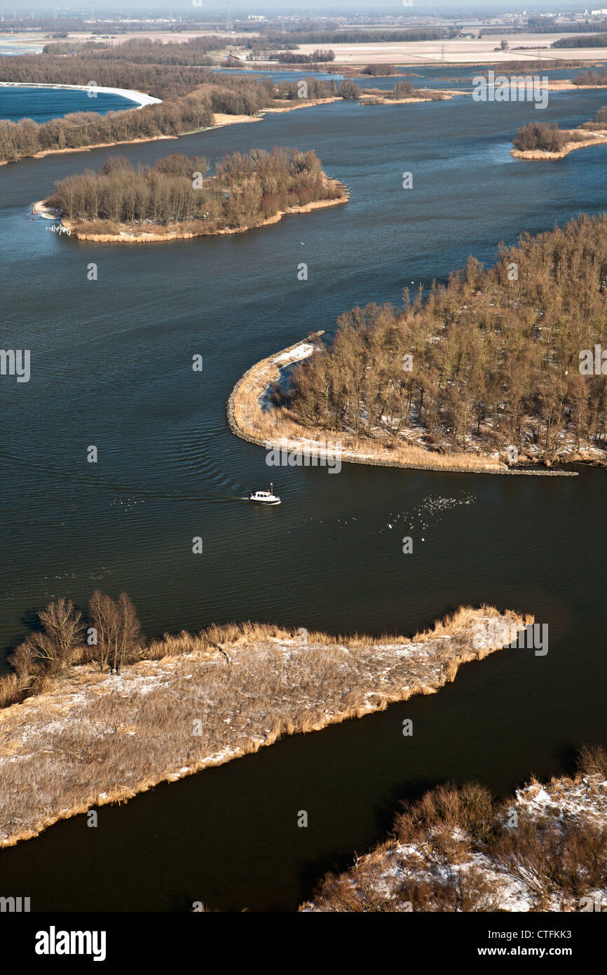 The Netherlands, Werkendam, Biesbosch National Park. Aerial, winter, frost. - Stock Image