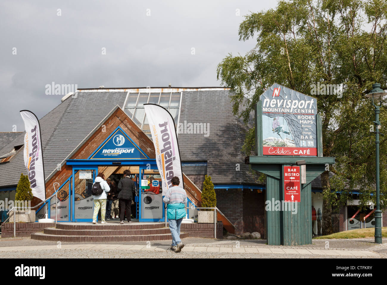 Nevisport Mountain Centre outdoor equipment shop and Cobbs cafe in Fort William, Inverness-shire, Highland, Scotland, Stock Photo