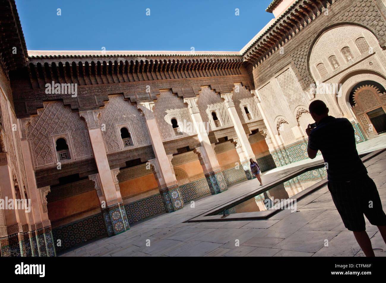 Morocco, Marrakech Medina, Ali ben Youssef Medersa. - Stock Image