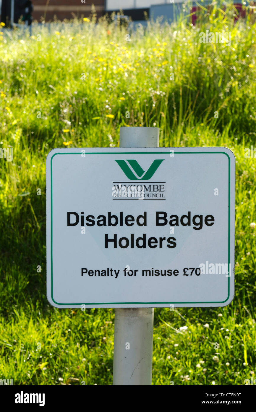 Car Park disabled badge holders only sign Stock Photo