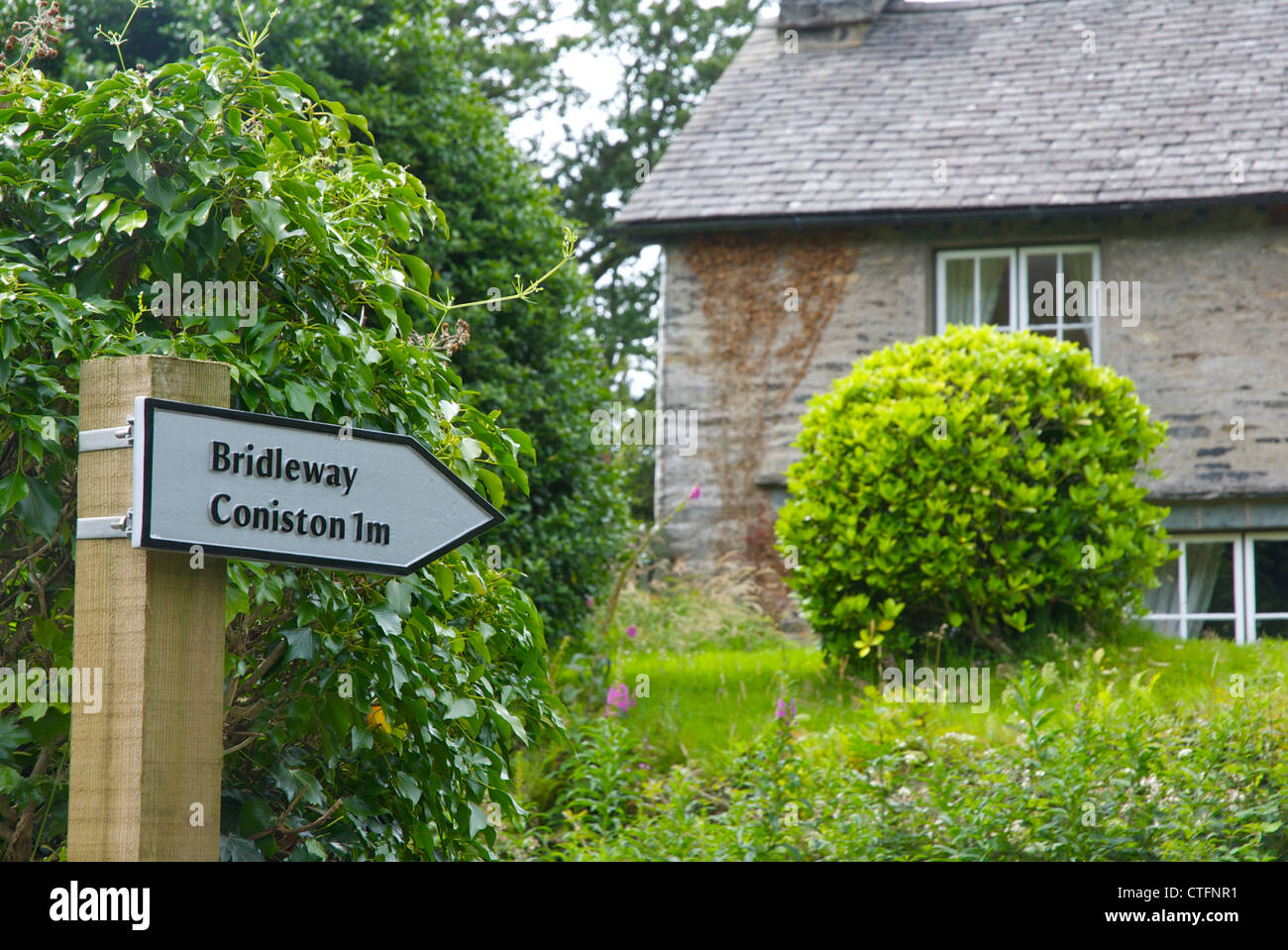Sign: bridleway to Coniston, Lake District National Park, Cumbria, England UK - Stock Image