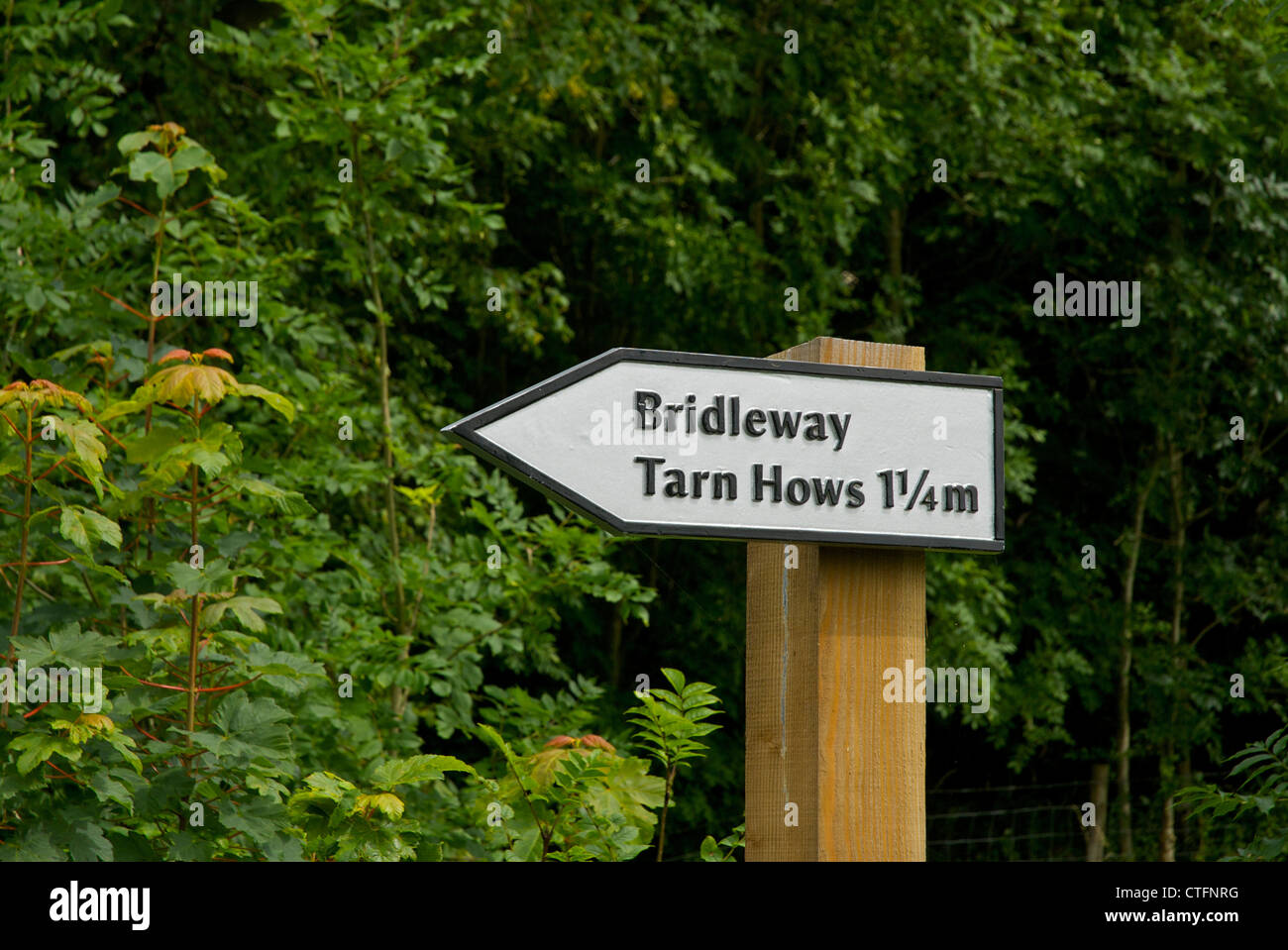 Sign: bridleway to Tarn Hows, near Coniston, Lake District National Park, Cumbria, England UK - Stock Image