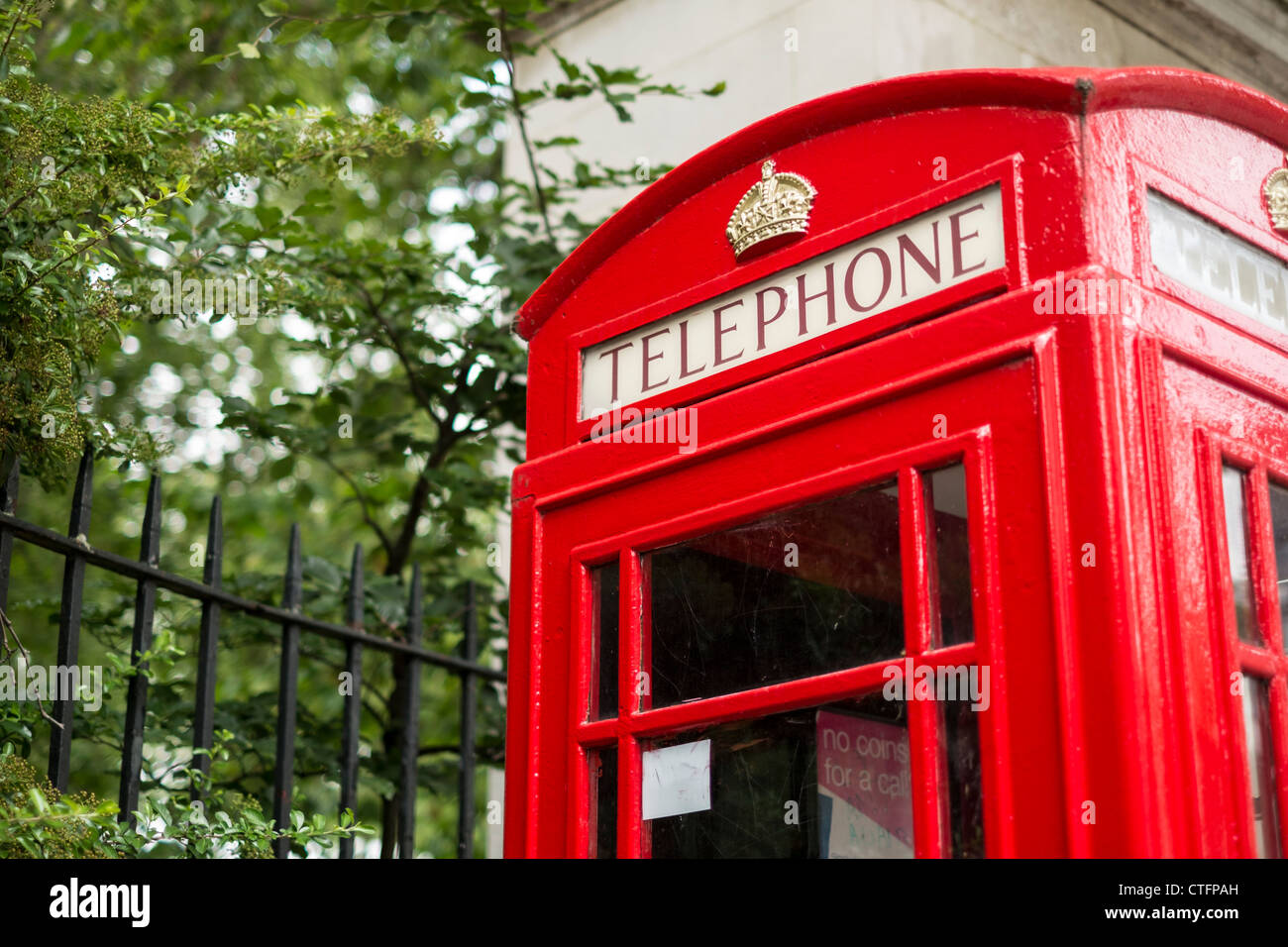 A Traditional British Red Public Telephone Box, London, UK. - Stock Image