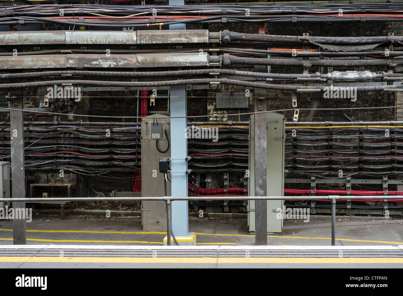 Cabling on the London Underground Train Transport Network. - Stock Image