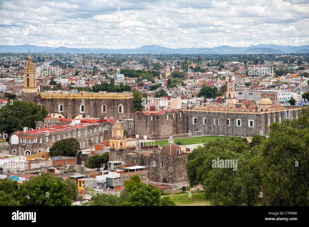 View towards the Monastery of San Gabriel and the historic town Cholula, Puebla, Mexico - Stock Image