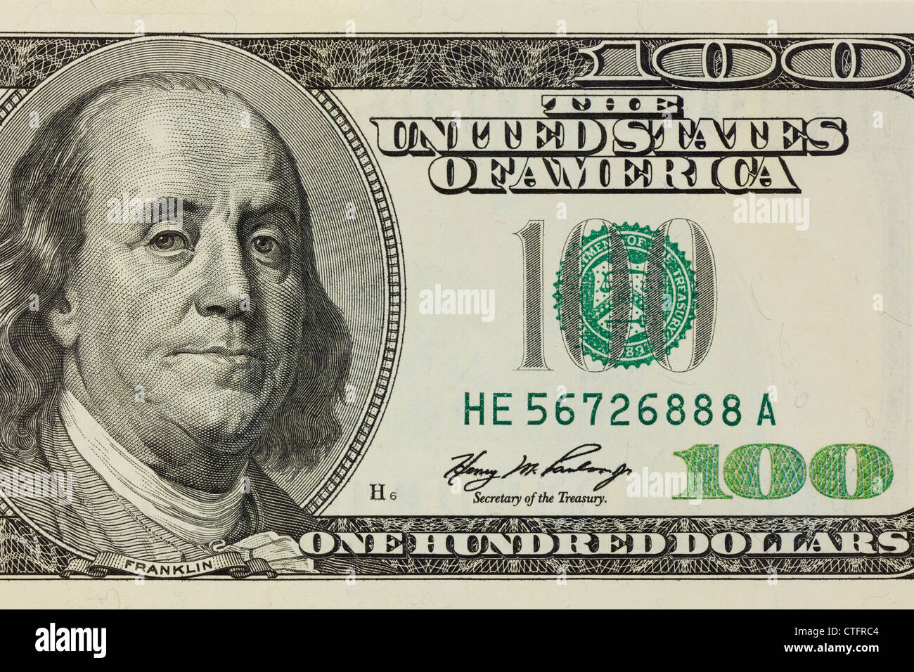 $100 bill closeup detail - Stock Image