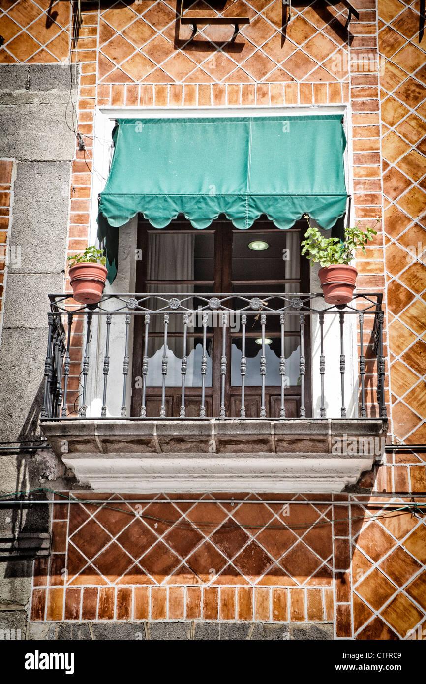 Balcony in Puebla, Mexico - Stock Image