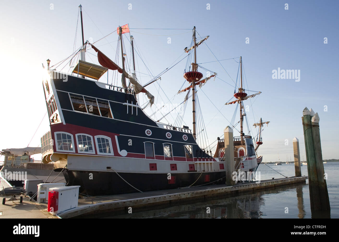 The Black Raven Pirate Ship in St. Augustine, Florida - Stock Image