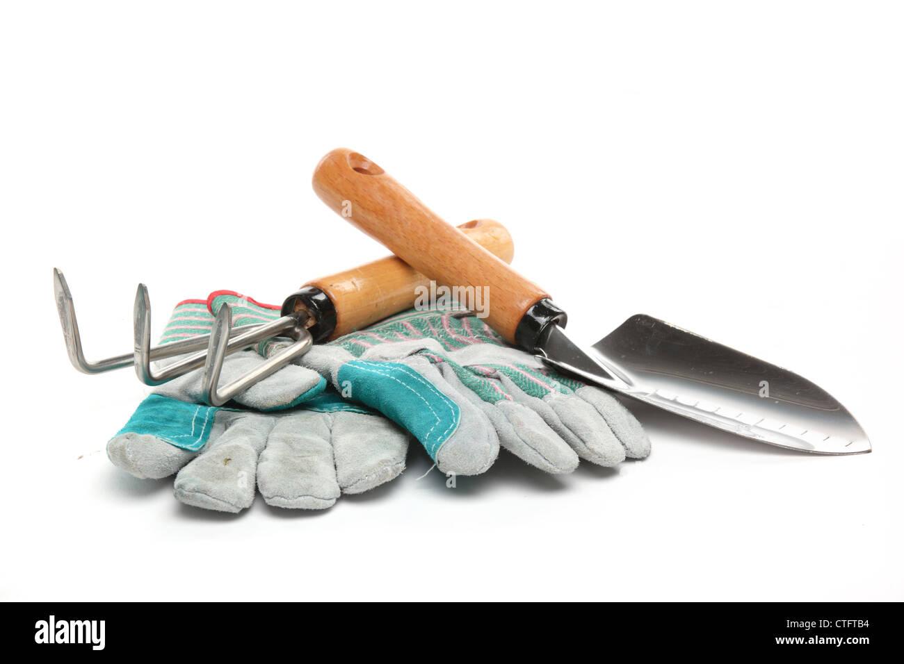 Shovel,rake and gloves isolated on white. - Stock Image