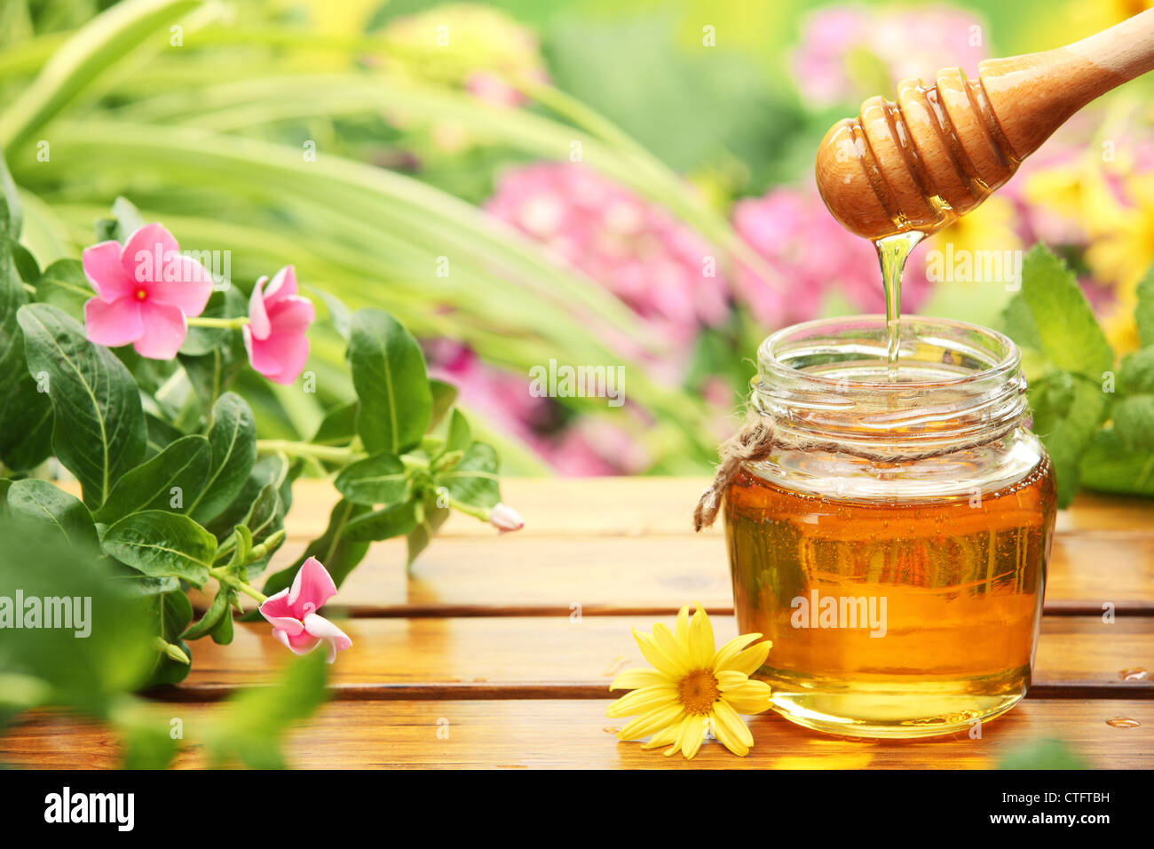 Honey in glass jars with flowers background. - Stock Image