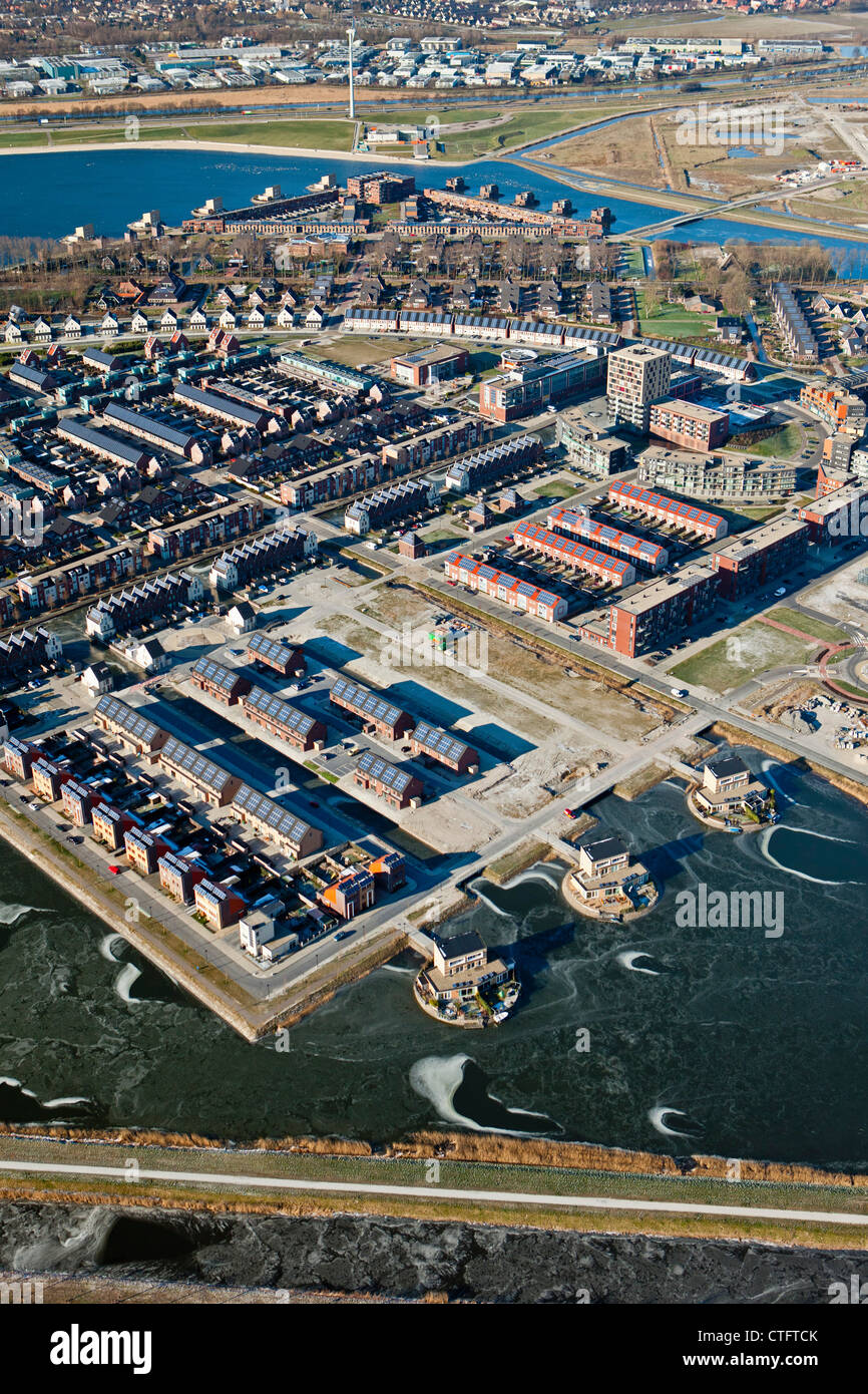The Netherlands, Heerhugowaard, Aerial, District called City of the Sun, Dutch: Stad van de Zon. All houses with - Stock Image