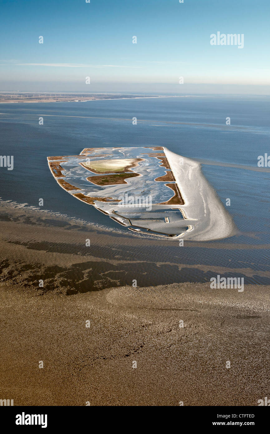 The Netherlands, Andijk, Artificial island called The Lame, Dutch Forestry Commission. Aerial. - Stock Image