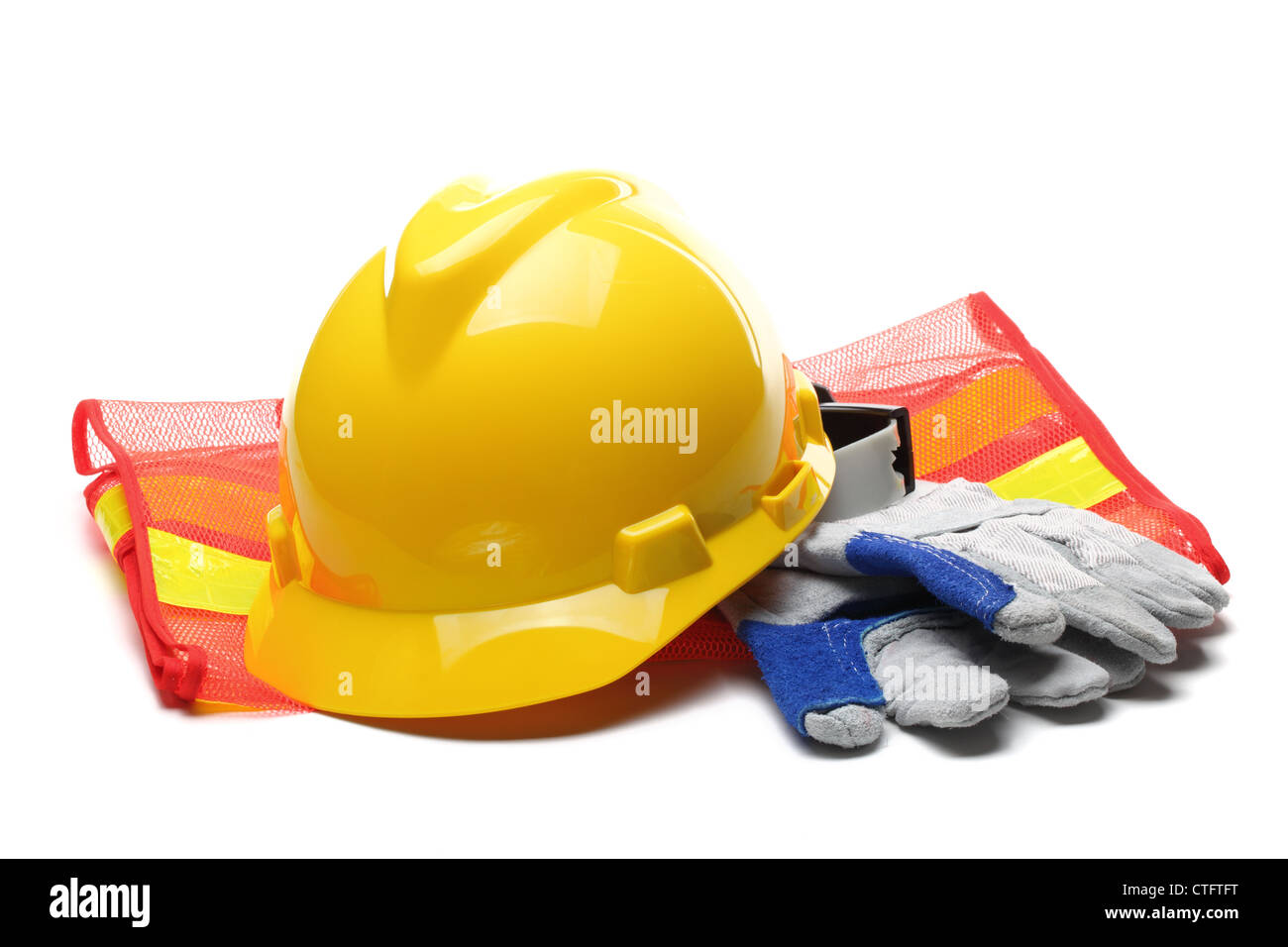 Safety gear kit close up over white. - Stock Image