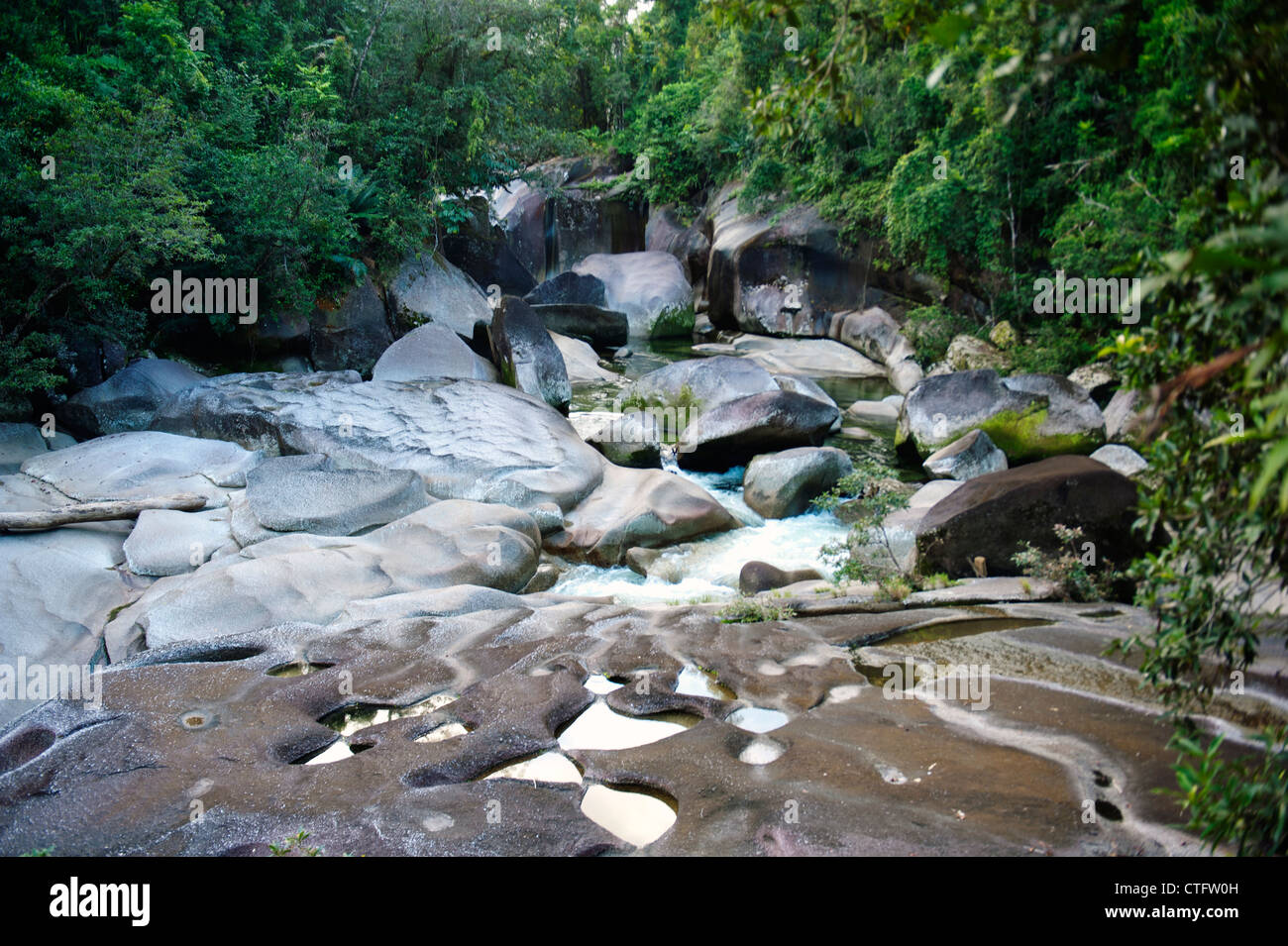'The Boulders' at Babinda Creek, mighty granites blocking the water in the rainforest of the wet tropics - Stock Image