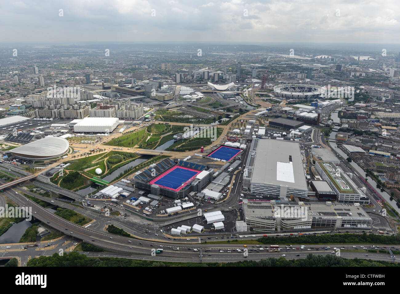 Aerial photograph of the London 2012 Olympic Park - Stock Image