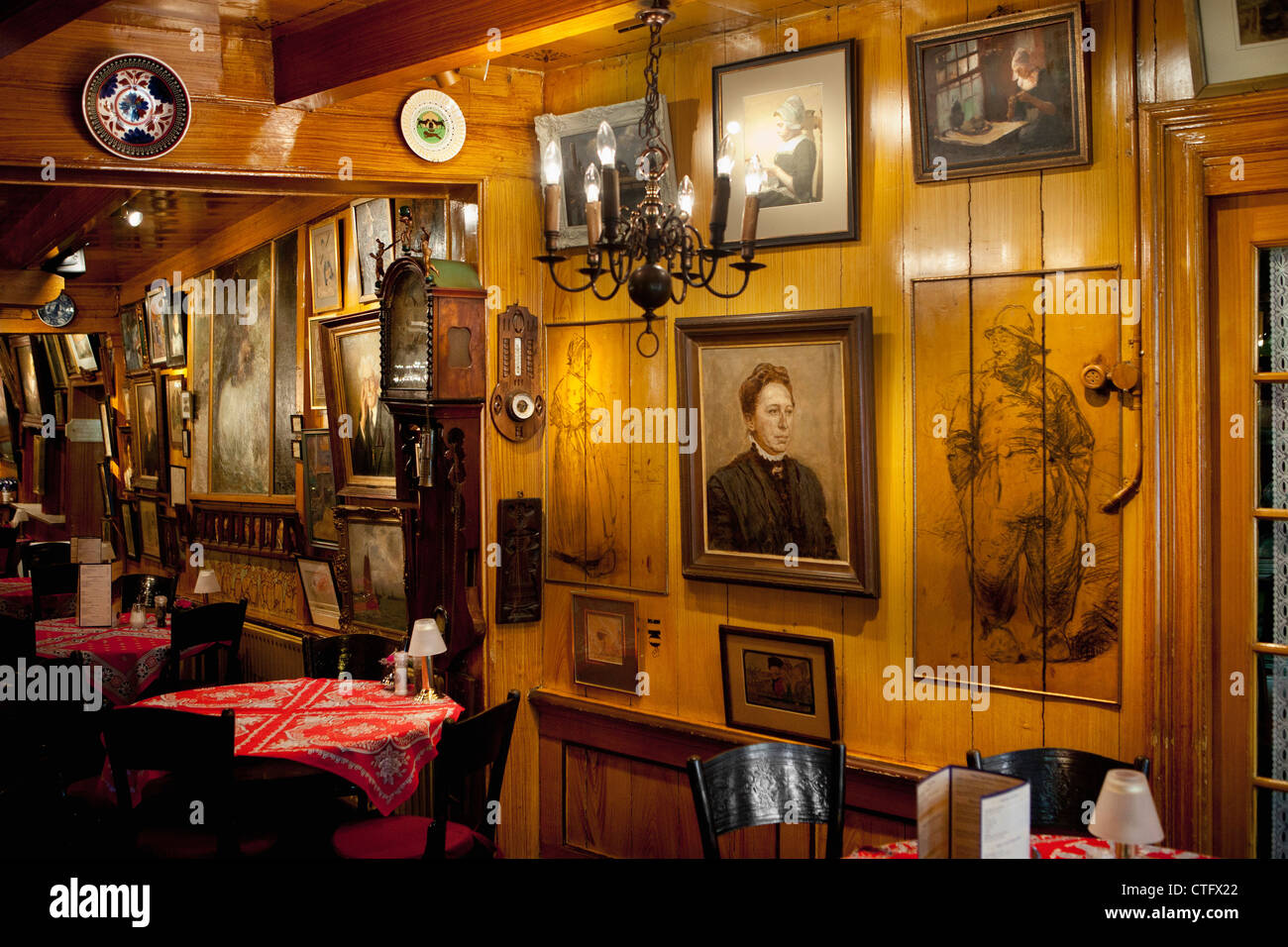 Famous hotel Spaander. Many times artists paid their bill with art work, like paintings. The hotel receives many Stock Photo