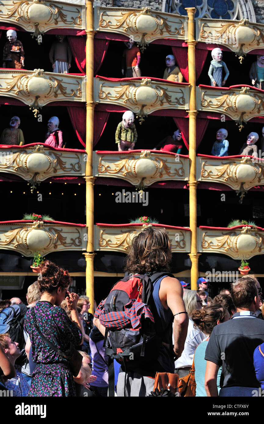 Puppets as spectators in theater boxes looking at performance during the Gentse Feesten / Ghent Festivities in summer, - Stock Image