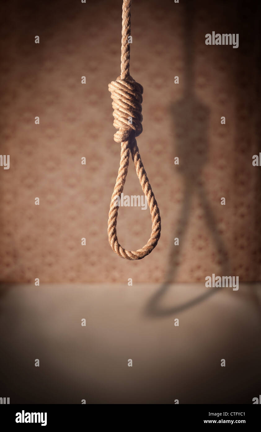 crime,dark,death,depression,desolate,desperate,dirty,empty,execute,execution,gallows,grunge,hang,hangman,hung,kill,knot,lasso,law,lethal,loop,nobody,node,noose,old,one,penalty,punishment,rope,sad,sadness,scary,shadows,stress,suffocate,suicide,symbol,symbo - Stock Image