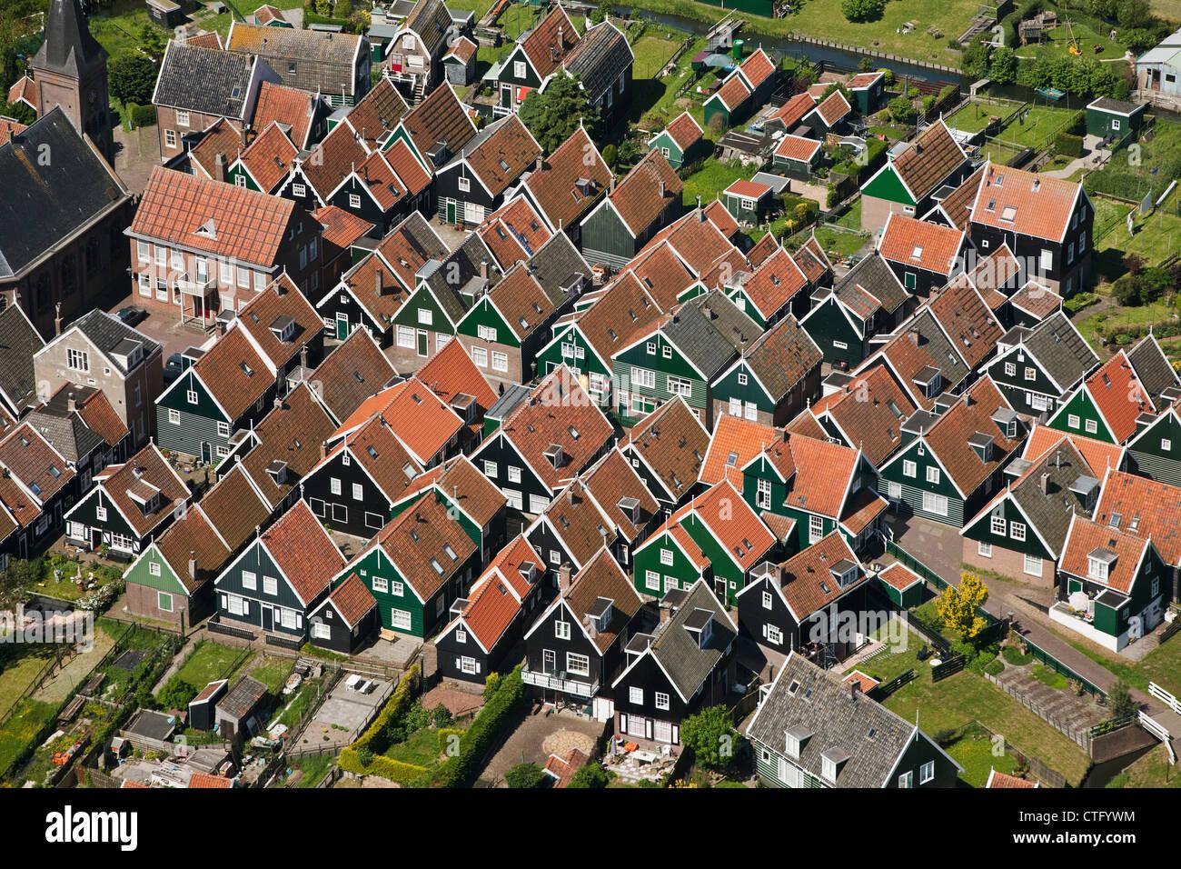 The Netherlands, Marken, Aerial. Village. - Stock Image