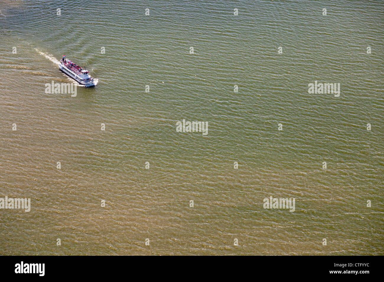 The Netherlands, Marken, Aerial. Ferry to Volendam. - Stock Image