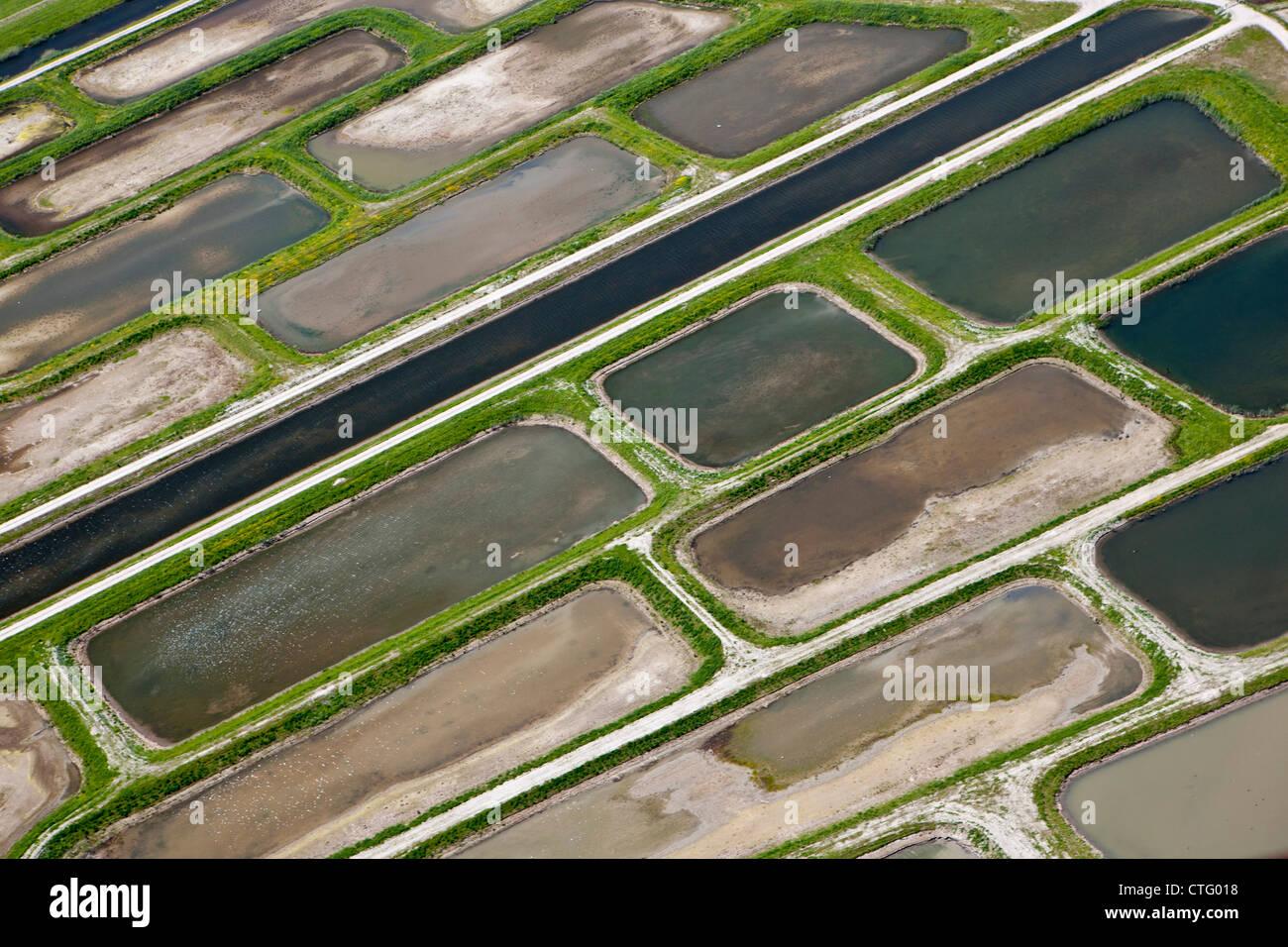 The Netherlands, Broek in Waterland. Polder called Volgermeerpolder. Nature reserve. Former garbage dump. Aerial. Stock Photo