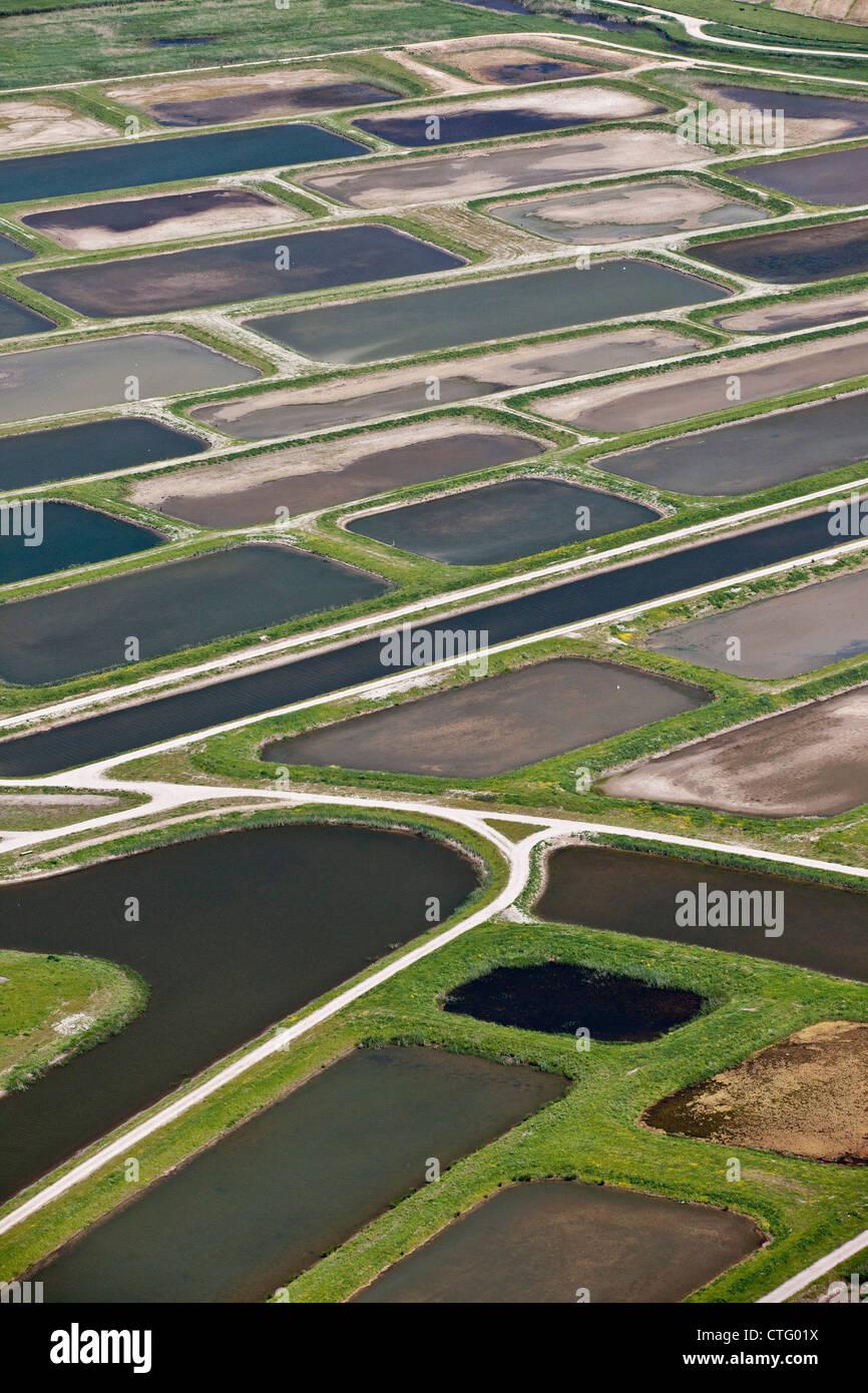 The Netherlands, Broek in Waterland. Polder called Volgermeerpolder. Nature reserve. Former garbage dump. Aerial. - Stock Image