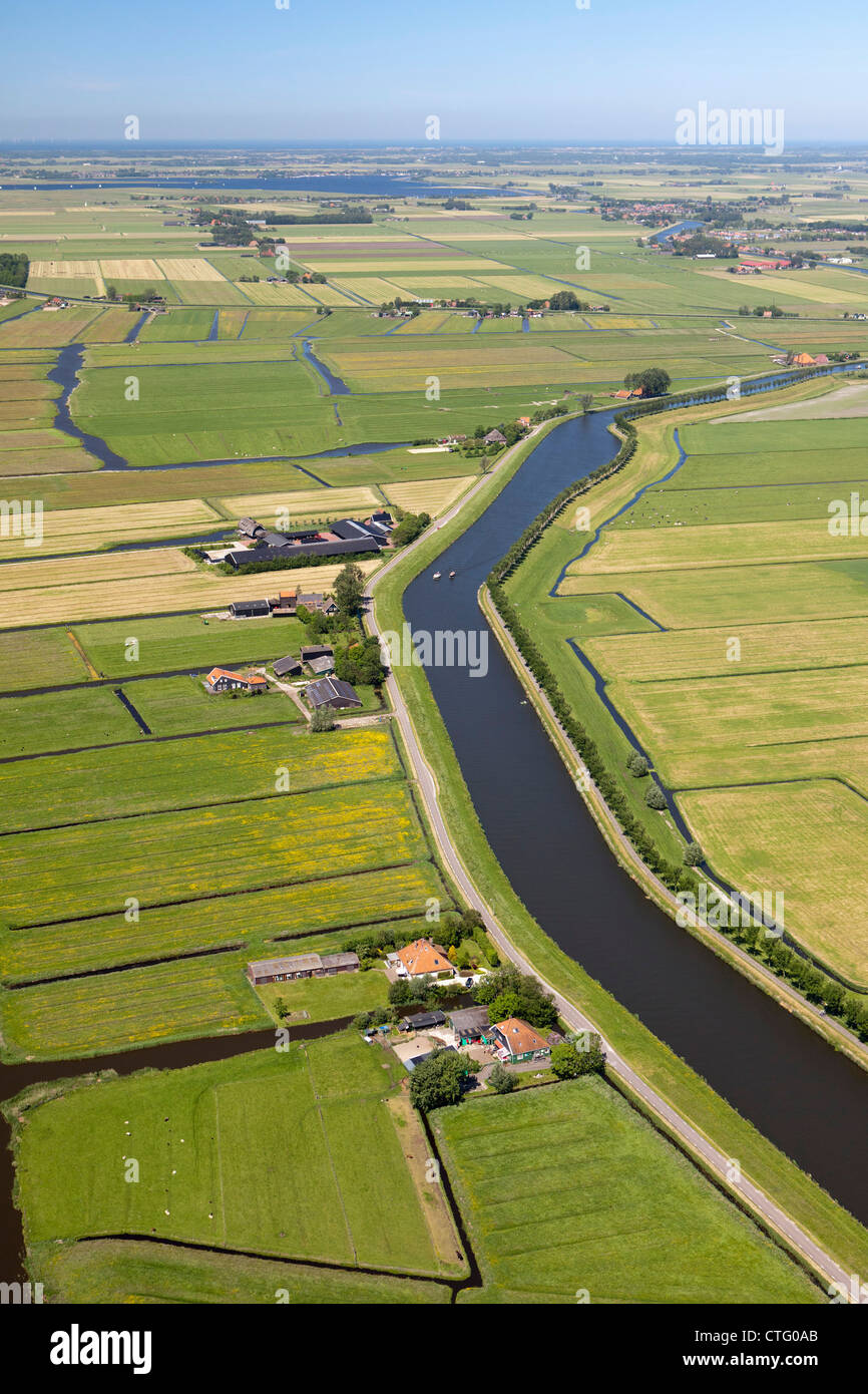 The Netherlands, Jisp, Aerial, Canal called Great North Holland Canal. Taking water from Beemster Polder to North - Stock Image