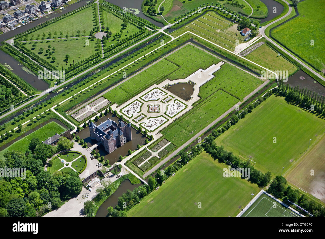 The Netherlands, Heemskerk, Aerial Stayokay Hostel, Castle called Slot Assumburg (Final Assumburg) - Stock Image