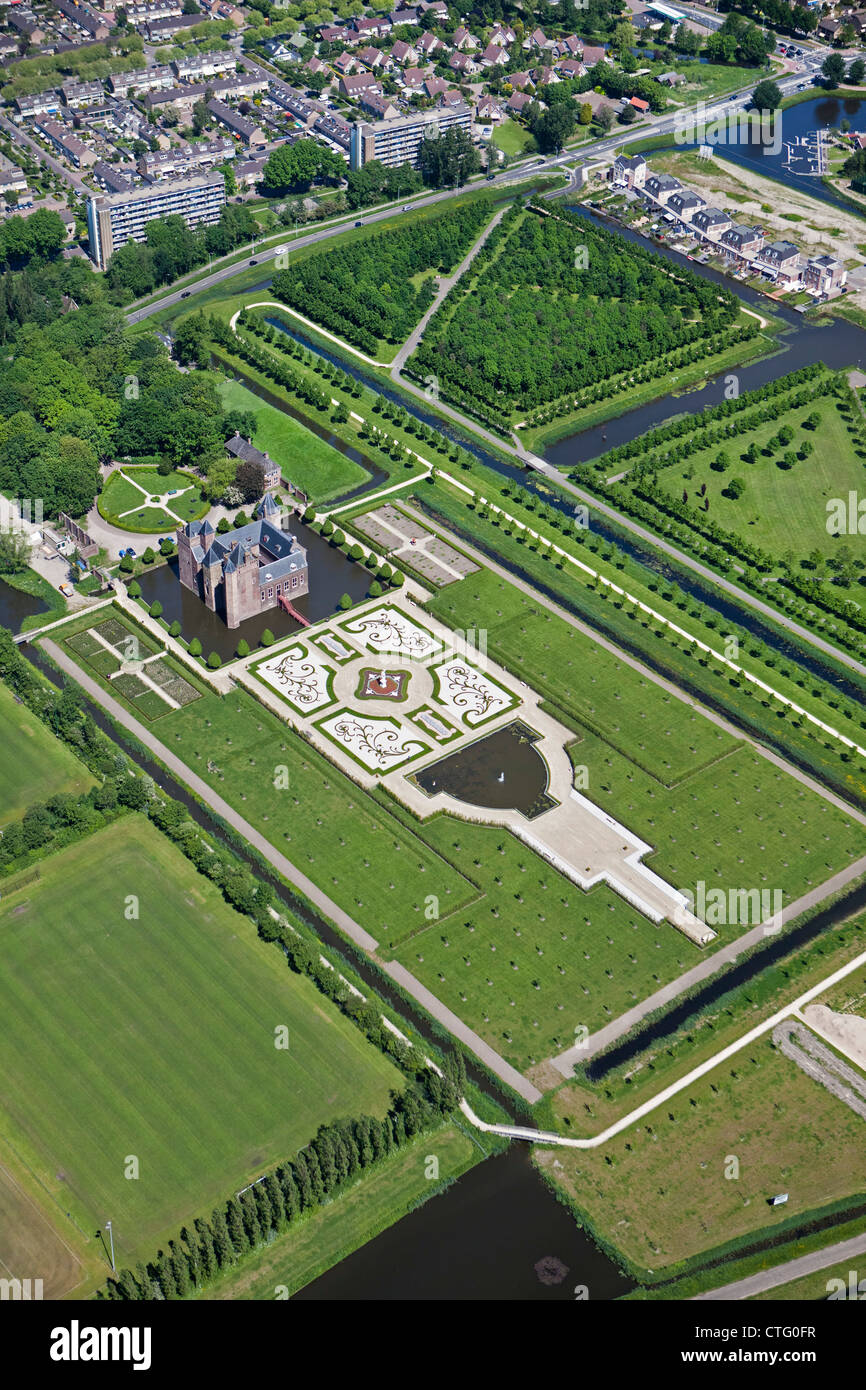 The Netherlands, Heemskerk, Aerial Stay Okay Hotel, Castle called Slot Assumburg (Final Assumburg) - Stock Image
