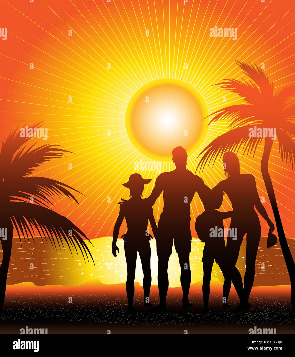 family silhouette on sunset beach Stock Photo