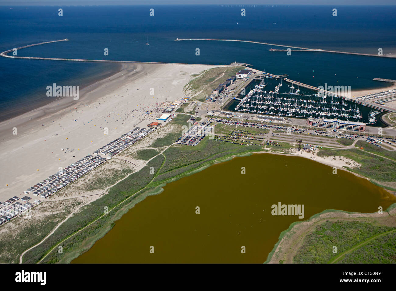 The Netherlands, IJmuiden, Aerial, Entrance of North Sea Canal. - Stock Image