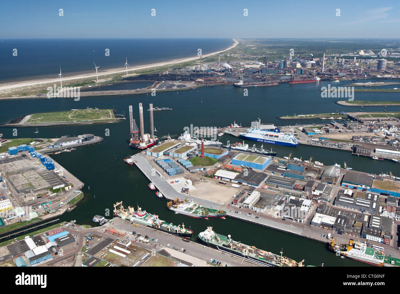 The Netherlands, IJmuiden, Aerial, Entrance of North Sea Canal. Harbor. Port. - Stock Image