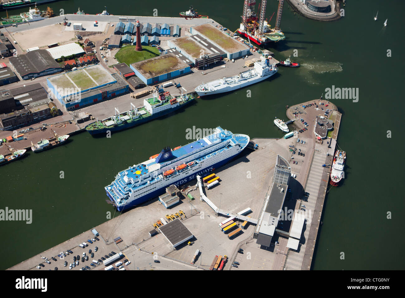 The Netherlands, IJmuiden, Aerial, Harbor. Port. DFDS Ferry boat. - Stock Image