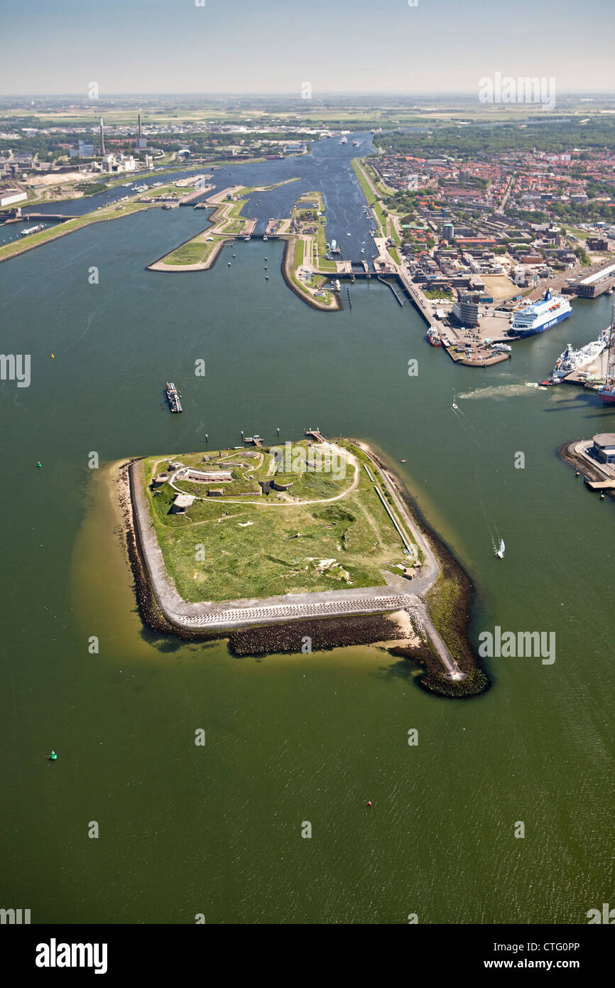 The Netherlands, IJmuiden, Aerial, Coastal fort . One of the 42 forts belonging to the Defense Line of Amsterdam. - Stock Image