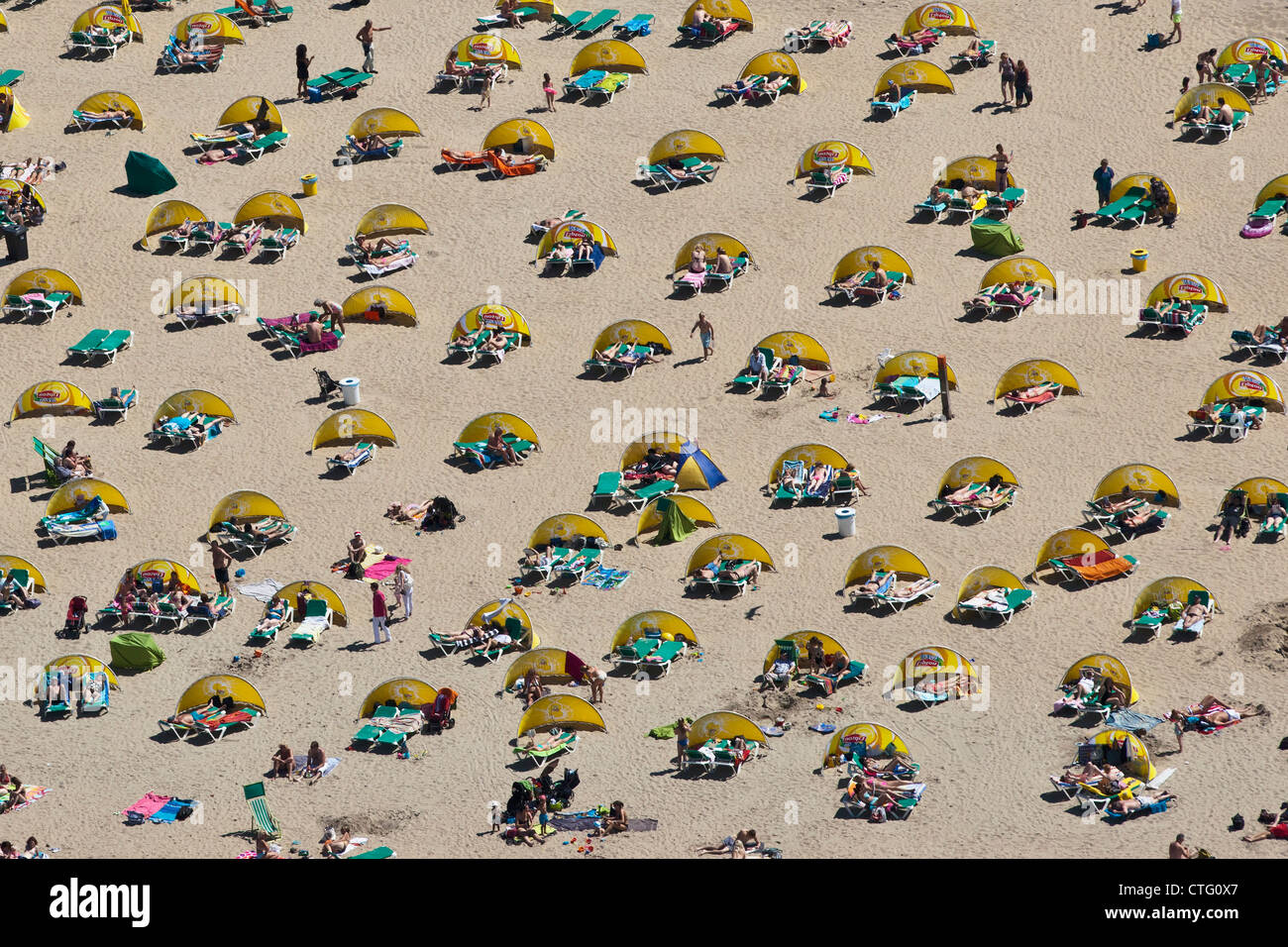 The Netherlands, Zandvoort, Aerial, Beach. - Stock Image