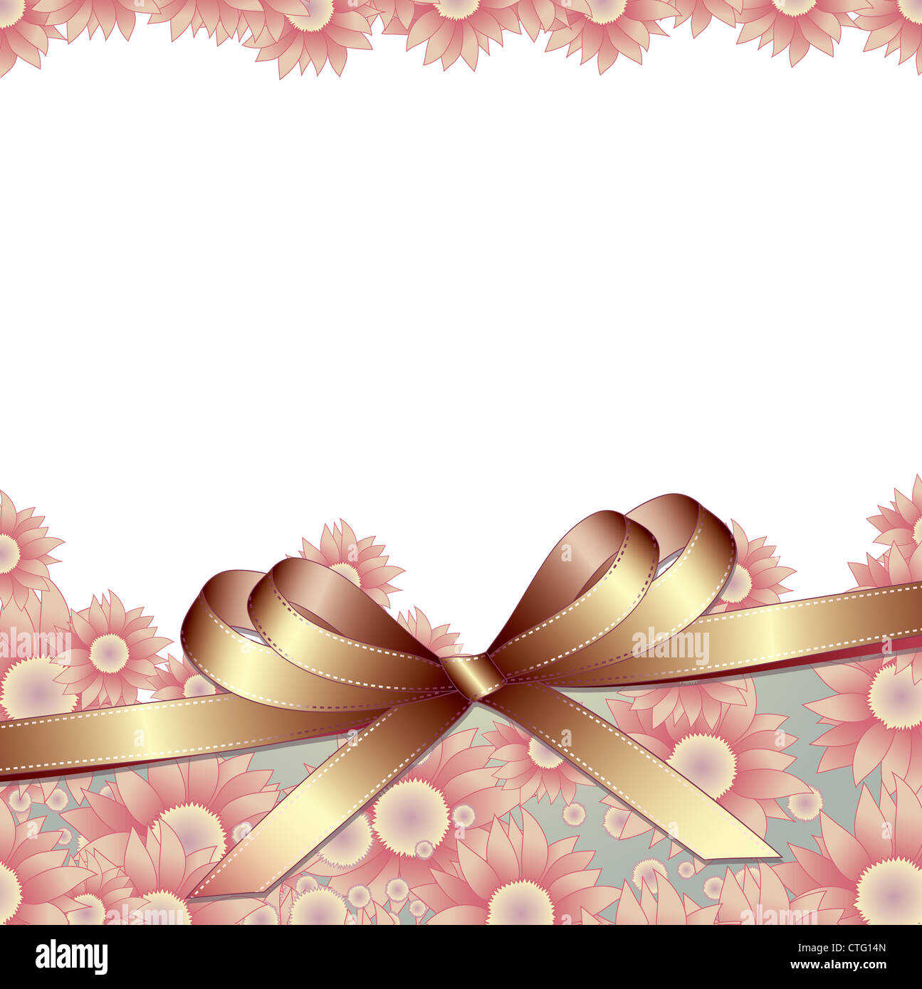 Floral background with ribbon for your text Stock Photo