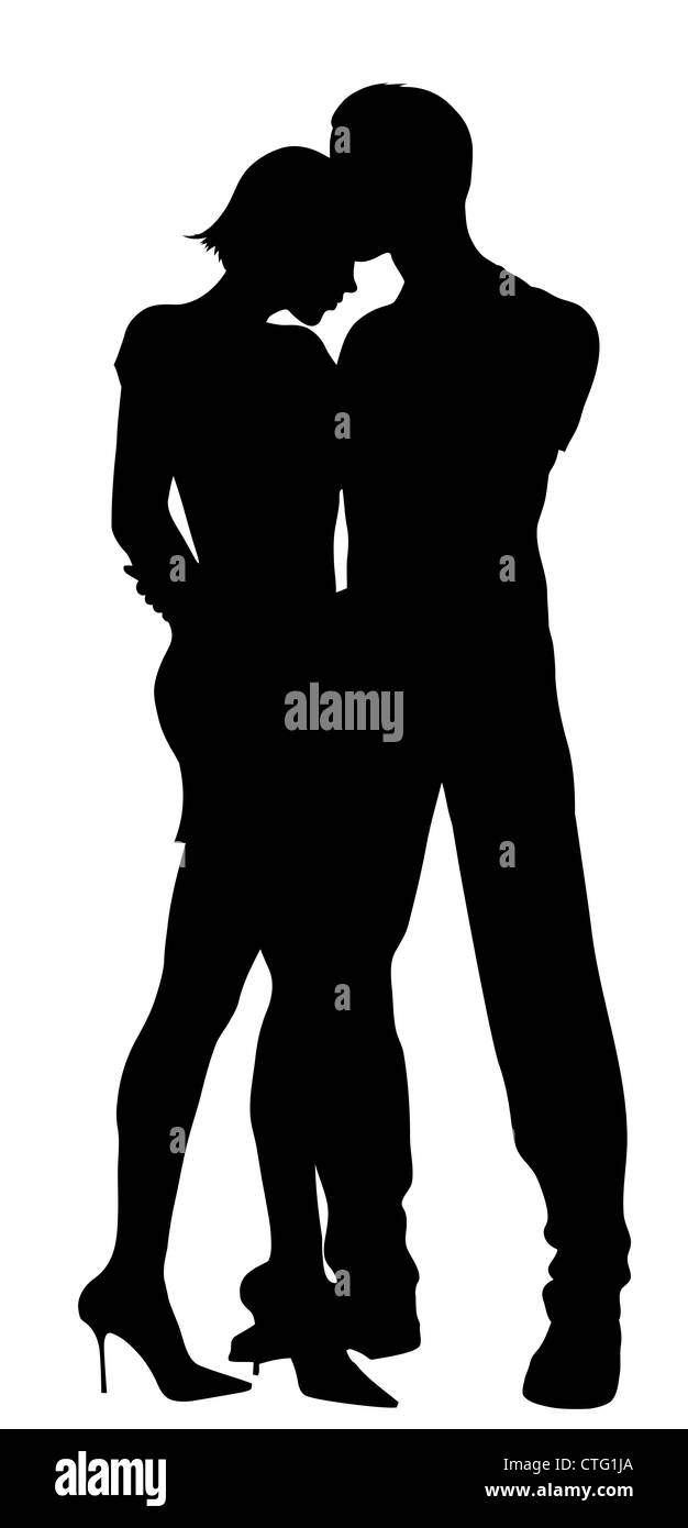couple silhouettes Stock Photo