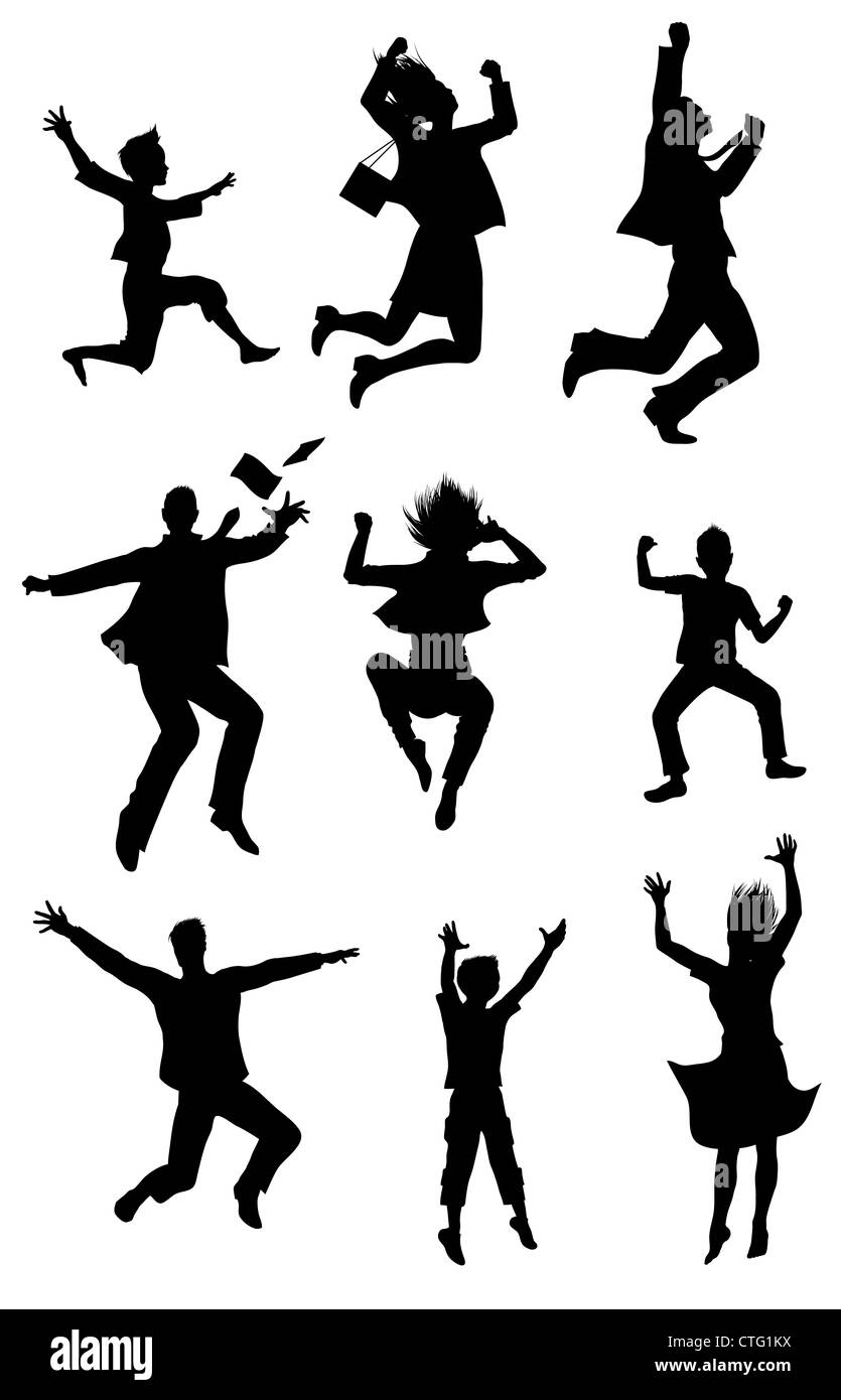 Jumping people silhouettes with happiness expression Stock Photo