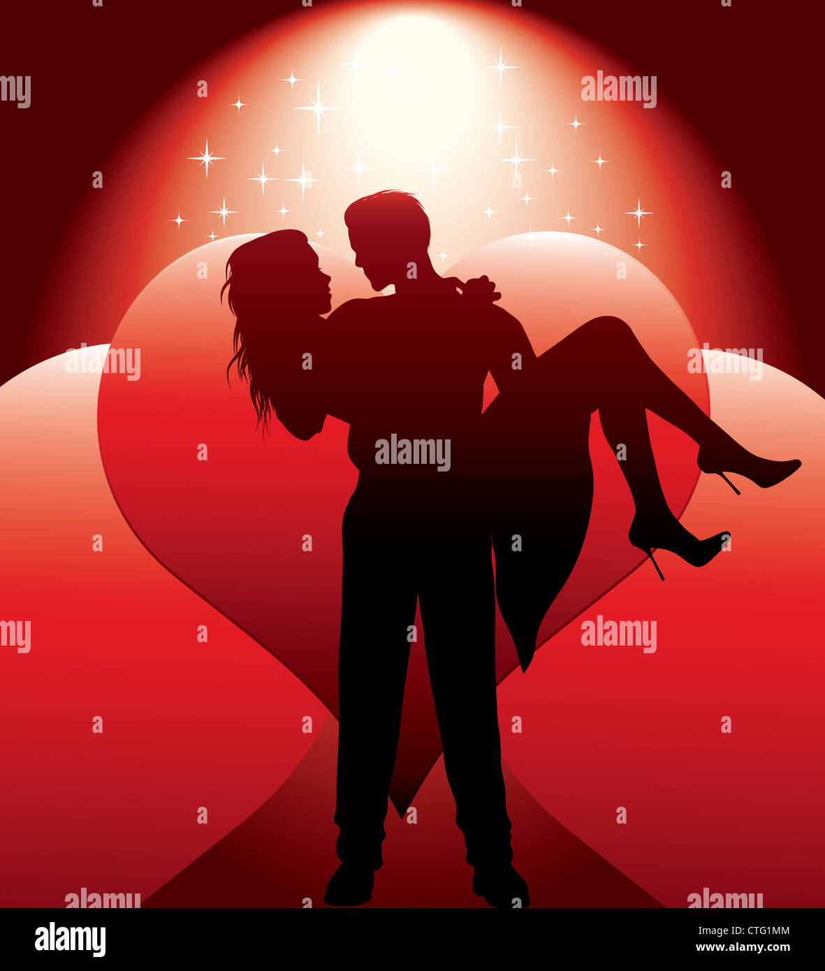 couple silhouette with hearts vector illustration Stock Photo