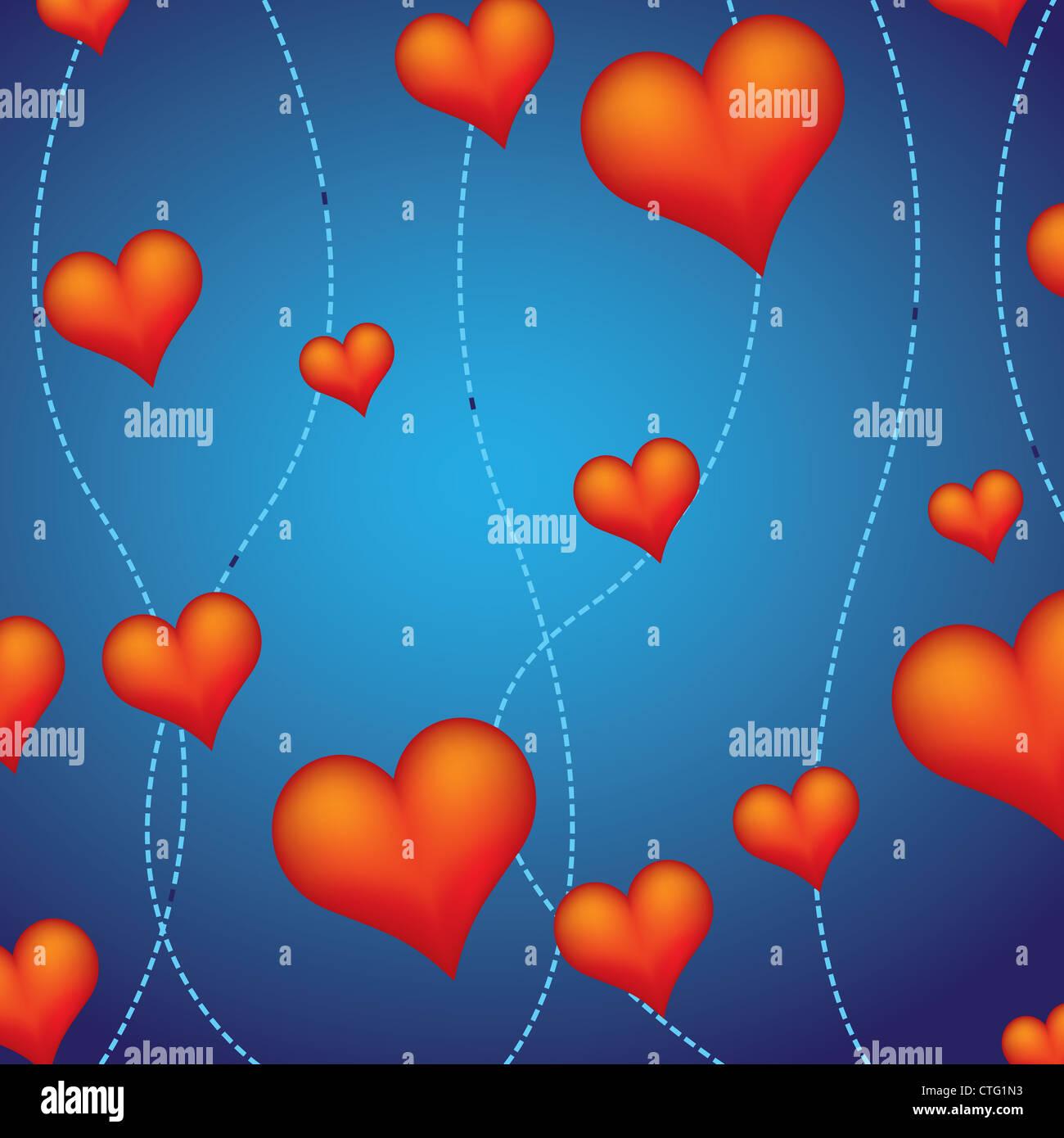 decorative red hearts Stock Photo