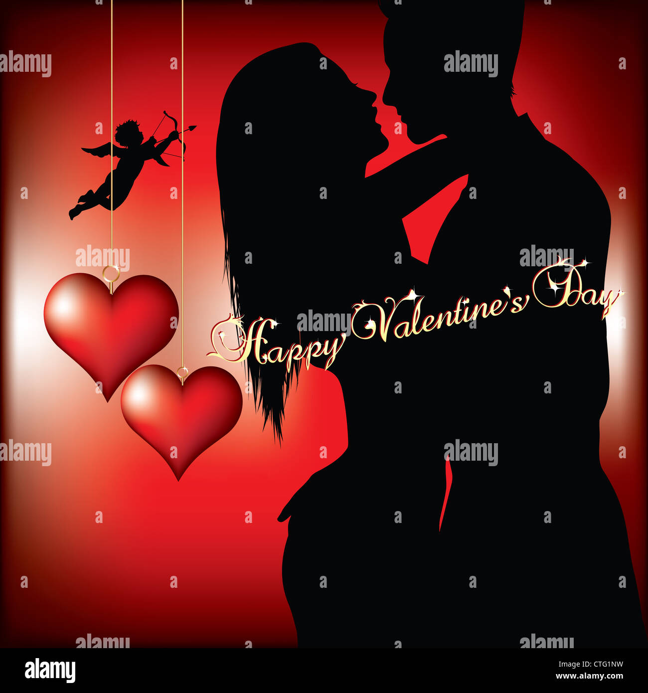 valentines day background with couple silhouette Stock Photo