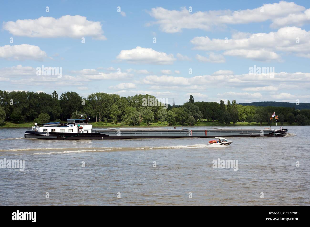 Commercial barge river Rhine Bonn Germany - Stock Image