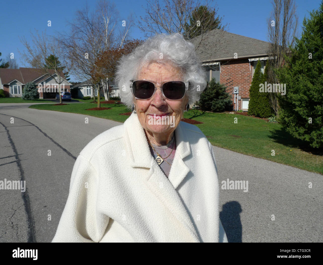 An Independent Active 97 Year Old Woman Outside Her Home