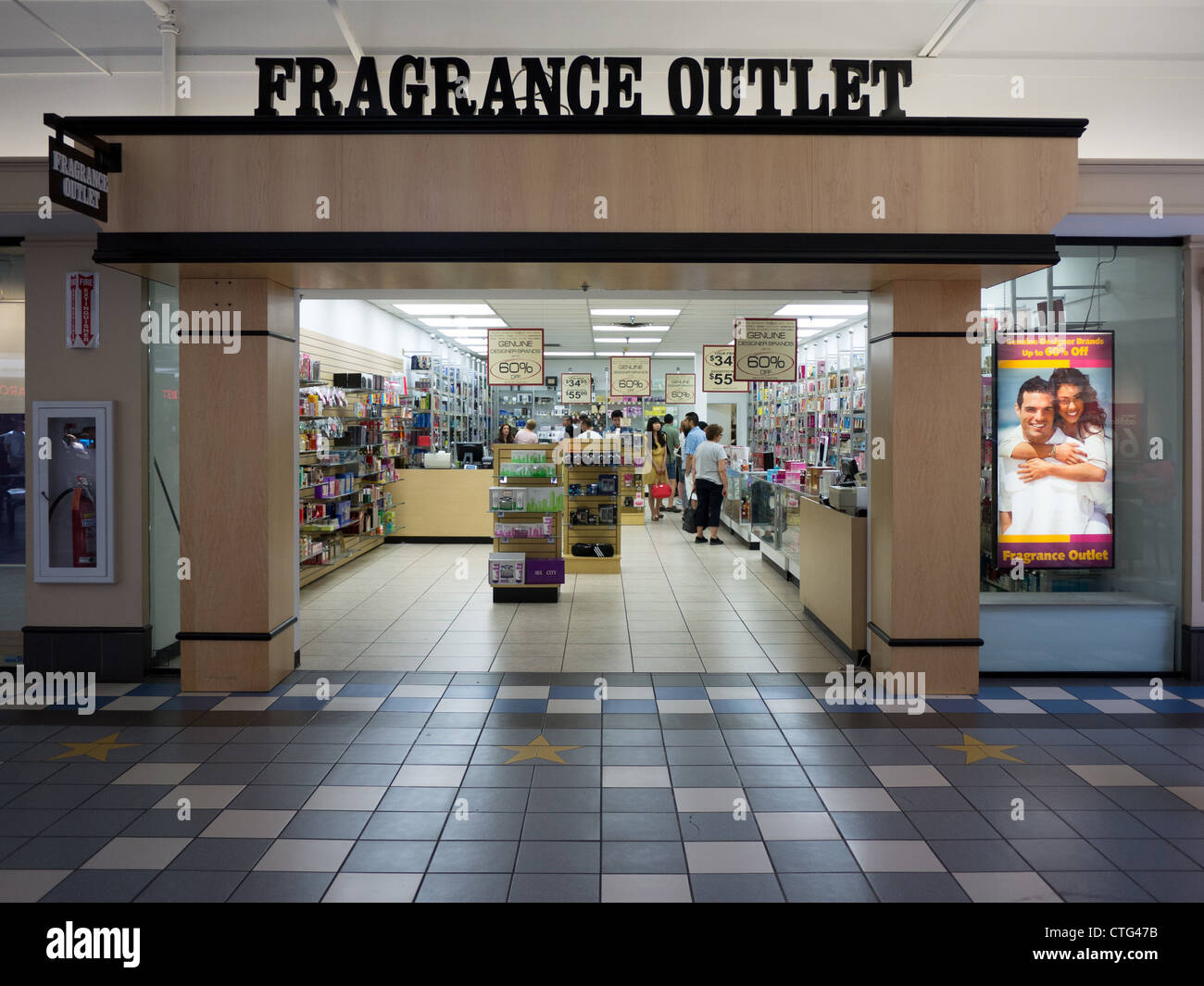 fragrance outlet store entrance retail shopping mall - Stock Image