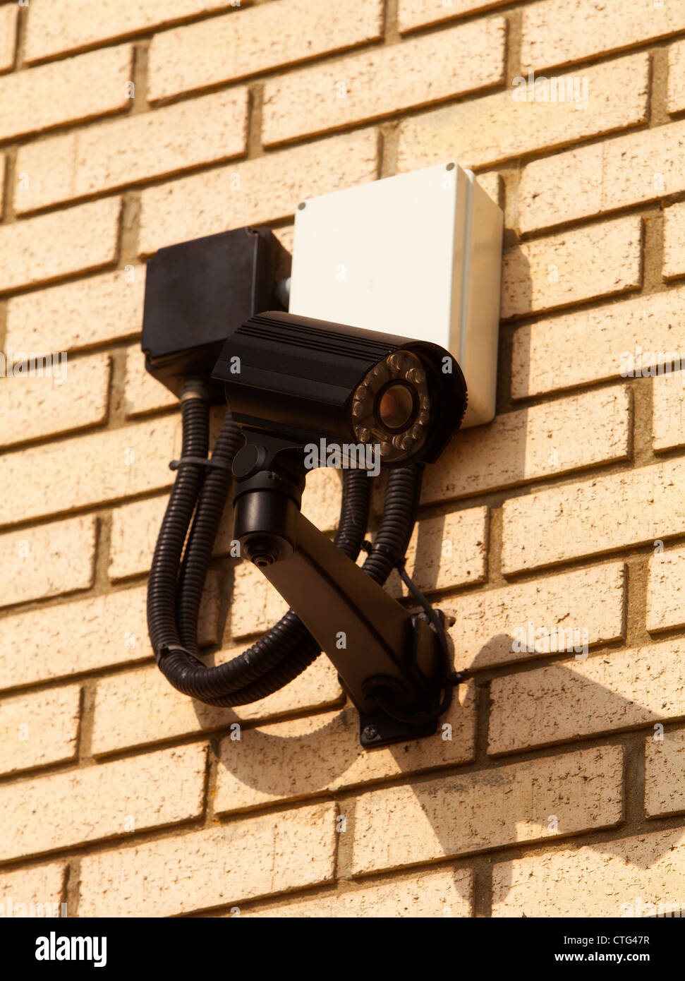 A close up of a wall mounted CCTV camera - Stock Image